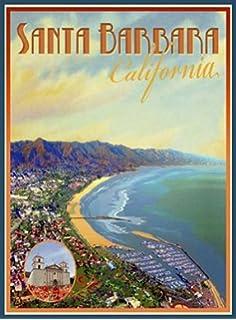 Santa Barbara-Art Deco Style Vintage Travel Poster-by Aurelio Grisanty
