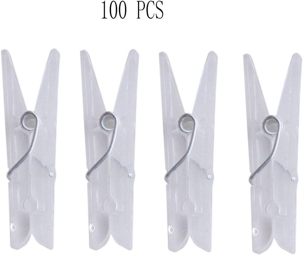 Yansanido 100pcs 1.37'' Mini Clear Plastic Utility Paper Clip, Clothespins Clip, Clothes Line Clips,Photo Clips for String Fairy Lights Color Clear(1.37'' Mini Clear Plastic 100pcs)