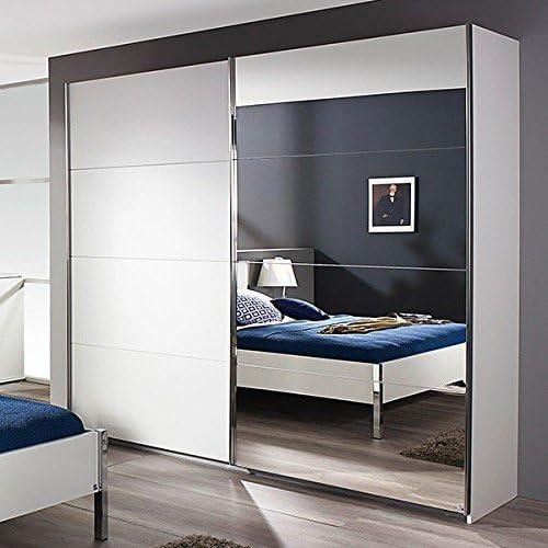Blanco Armario de puertas correderas 2 puertas B 181 cm – Armario ropero Armario espejo Armario Juvenil Dormitorio Armario: Amazon.es: Hogar