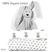 100% Organic Cotton Fitted Crib Sheets + Lovey (2+1 Pack) G.O.T.S. Certified - fits Standard Crib and Toddler Mattresses 52x28x9''- Unisex