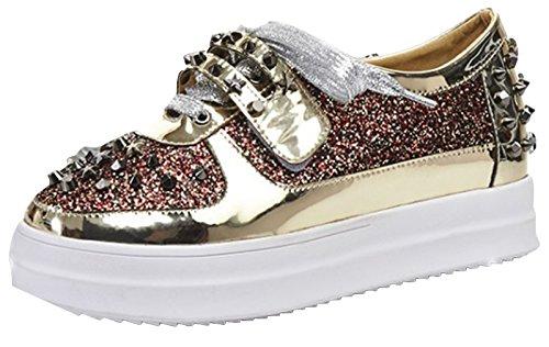 1ded925d La Vogue Zapatos Mujer Remache Brillante Plataforma con Cordones Casual  Dorado Color