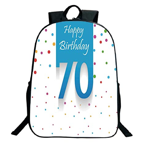 Kids School Backpack70th Birthday DecorationsColorful Polka Dots Backdrop And Happy 70