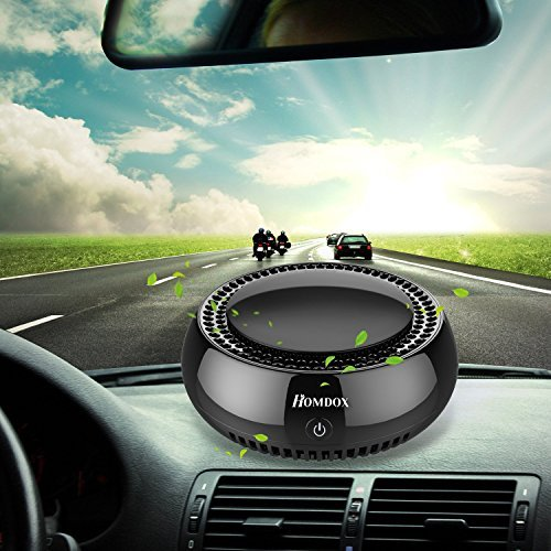 Homdox Car Air Purifier,True HEPA Travel USB Auto Air Cleaner with Cigarette Adapter,Sedan Air Freshener Remove Cigarette Smoke,Odor Smell,Bacteria for Small Bedroom,Pets Room,Refrigerator,Traveling
