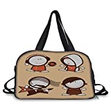 Travel handbag,Funny,Musician People Icons with Guitar Headphones Hip Hop Boy DJ Emo Song Star Print Decorative,Sand Brown White ,Personalized
