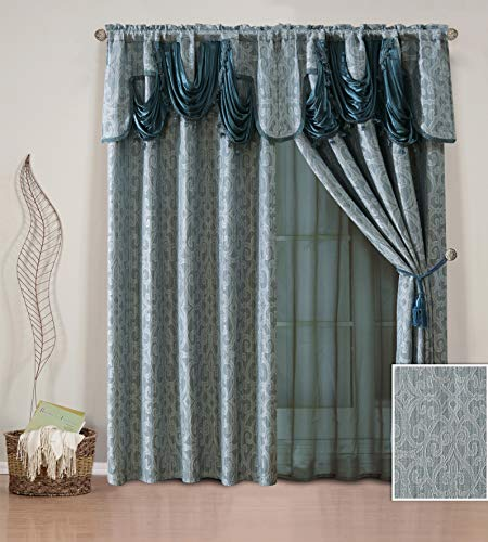 (Elegant Home Window Curtain Drapes All-in-One Set with Valance & Sheer Backing & Tassels for Living Room, Bedroom, Dining Room, and Sliding Doors - Natash (Blue))