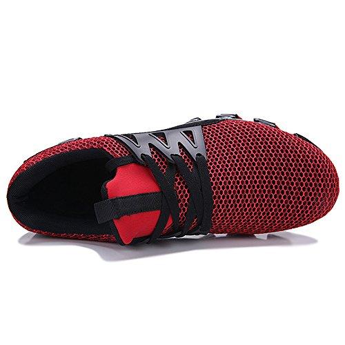 Malla Zapatilla Zapatillas Deporte Rojo A De Sobre Casual De Hoja La Caminar ALIKEEYMens Zapatos De Deporte De Deslizamiento 7OXgnq