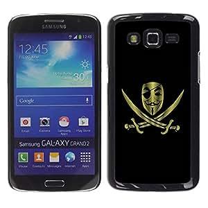 Caucho caso de Shell duro de la cubierta de accesorios de protección BY RAYDREAMMM - Samsung Galaxy Grand 2 SM-G7102 SM-G7105 - Anonymous Rebel Pirate Flag