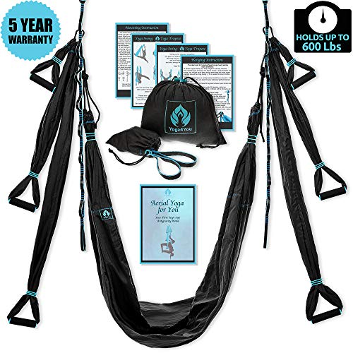 Yoga4You Aerial Yoga Swing Set - Black Yoga Hammock - Trapeze Yoga Kit + Extension Straps & eBook - Wide Flying Yoga Inversion Tool - Antigravity Ceiling Hanging Yoga Sling - Women Men Kids Arial Acro