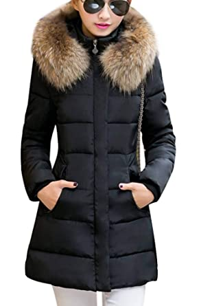 a6584f9328 Yasong Women Faux Fur Hooded Quilted Padded Parka Jacket Winter Overcoat  Puffer Coat: Amazon.co.uk: Clothing