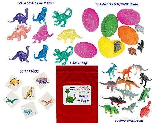 Pearlized Star - 84 pc Dinosaur Kid's Birthday Party Favor Bundle Pack (12 Dinosaur eggs, 24 Squishy Dino's, 36 Tattoos, 12 mini dinosaurs, Bonus Bag)