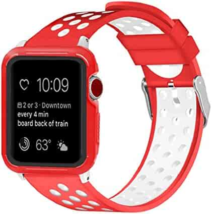 Juzzhou Watch Band For Apple Watch iWatch 38mm/42mm Series 1/2/3 Soft Silicone Replacement With Adapter Protective Case