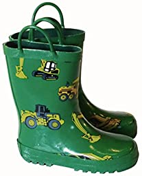 Foxfire for Kids Green with Constuction Equipment Rubber Boots size 8
