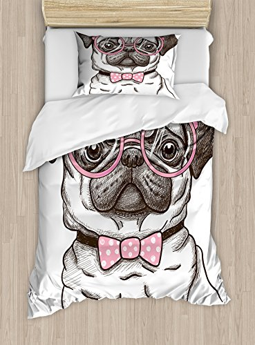 - Ambesonne Pug Duvet Cover Set Twin Size, Cute Pet Dog with Pink Bow Tie Oversized Glasses Hand Drawn Domesticated, Decorative 2 Piece Bedding Set with 1 Pillow Sham, Brown Pale Pink White
