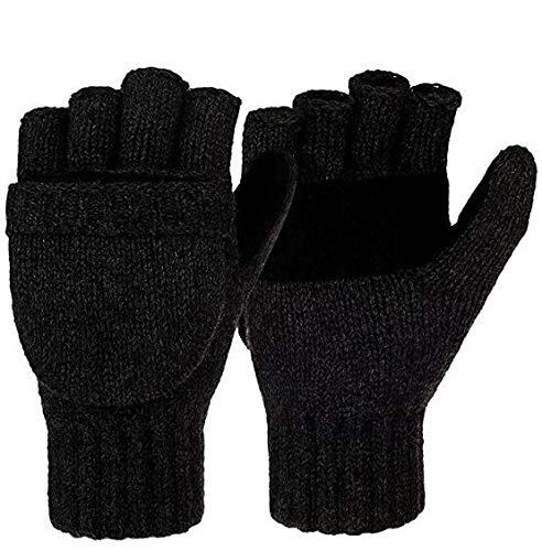 Winter Wool Knitted Fingerless Gloves Convertible Thinsulate Thermal Insulation Mittens for Women & Men