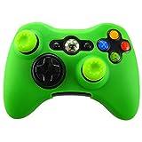 Pandaren Soft Silicone Skin for Xbox 360 Controller Set(Green Skin X 1 + Thumb Grip X 2)