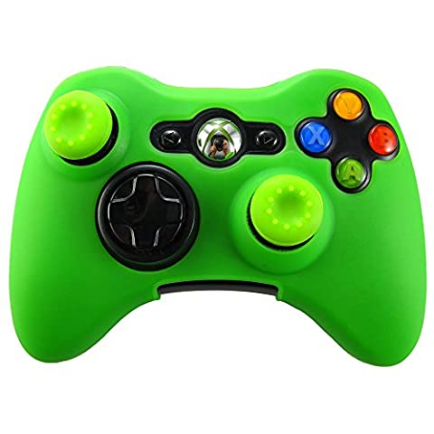 Pandaren Soft Silicone Skin for Xbox 360 Controller Set(BGreen Skin X 1 + Thumb Grip X 2) (Xbox 360 Aluminum Triggers)