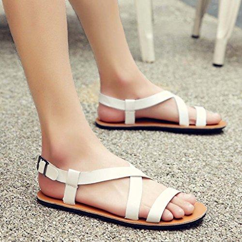 ZXCV Zapatos al aire libre La personalidad de cuero de los hombres guisantes calza los zapatos ocasionales del calzado del calzado zapatos ligeros de la marea Blanco