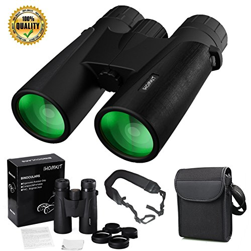 Binocular for Adults,IHOMKIT 12x42 Binocular Telescopes, Professional HD Compact Waterproof and Fogproof Binoculars Sports BAK4 Prism FMC Lens for Outdoor Bird Watching Hiking Travel Hunting,Black by IHOMKIT