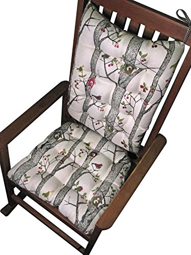 Rocking Chair Cushions - Lancy Birdhouse Multi Embroidered Birds - Size Extra-Large - Reverses to Black Gingham - Latex Foam Fill - Made in USA