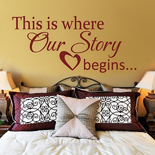 MairGwall Vinyl Wall Decal This is where our story begins Heart Decal- Couple Bedroom Love Vinyl Wall Quote Home Decor (Black, Small)