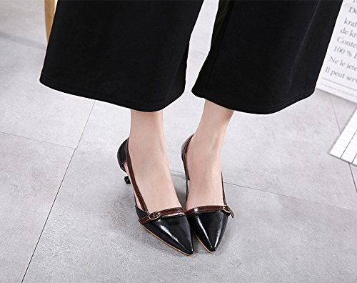 Micro Sandal 5CM 5 H Womens Metal with Black Shoes amp;W Kitten Leather Heels Pointy Buckle ESSgnHqv