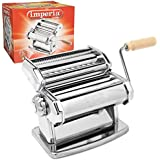 Imperia Pasta Maker Machine (150) By Cucina Pro - Heavy Duty Steel Construction with Easy Lock Dial and Wood Grip Handle