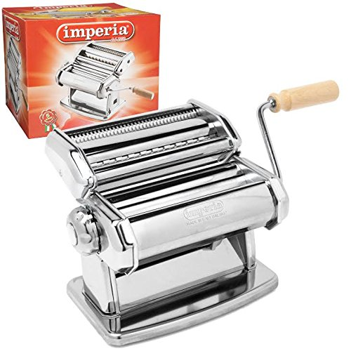 Imperia Pasta Maker Machine - Heavy Duty Steel Construction w Easy Lock Dial and Wood Grip Handle- Model 150 Made in Italy by Imperia