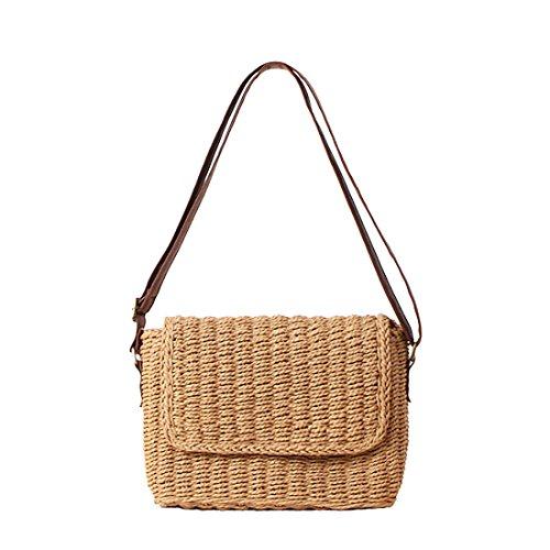 Summer Womens Cross Brown Bags Body Shoulder Bag Bag Light Rattan Holiday Woven Handbag Flap Casual Beach vC5wFafxq
