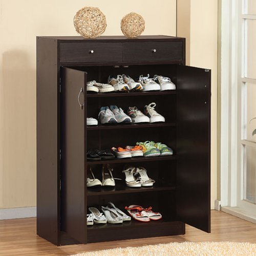 247SHOPATHOME 6138 Five Shelf Shoe Storage Cabinet, Cappuccino (5 Shelf Shoe Cabinet)