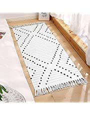 Boho Bedroom Rug 2 x 4.3',Woven Cotton Washable Runner Rug with Tassel Moroccan Tribal Decorative Throw Floor Mat for Porch/Doorway/Laundry/Kitchen Cute Entryway