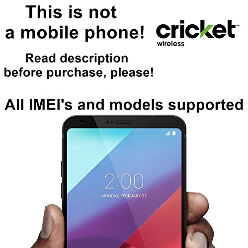 Cricket Wireless USA Unlocking Service for LG G6, G5, G4, G3, V10, Vista 2, Escape 2 and Other Models Which Ask For an Unlock Code - Make Your Device More Useful Than Before - Choose Any Carrier at Your Own at Any Time You Need - No Re-lock Lifetime Guarantee