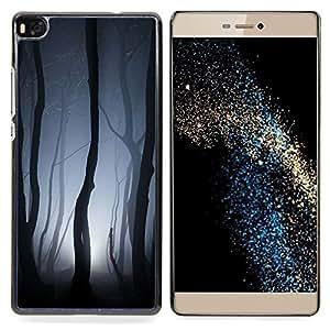 Stuss Case / Funda Carcasa protectora - Luces Bosque Gris noche de miedo - Huawei Ascend P8 (Not for P8 Lite)