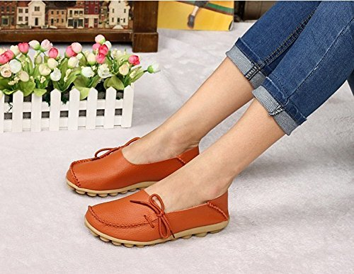Womens Driving Shoes Cowhide Casual Lace-Up Loafers Boat Shoes Flats 0range P2Pb5NDaoh