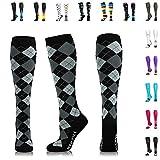 NEWZILL Compression Socks (20-30mmHg) for Men & Women - Best Stockings for Running, Medical, Athletic, Edema, Diabetic, Varicose Veins, Travel, Pregnancy, Shin Splints. (Black Gray Argyle, Small)