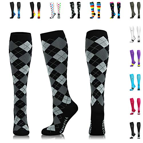 NEWZILL Men & Women's Compression Socks for Athletic, Nurses, Shin Splints, Maternity & Flight Travel, Black Gray Argyle - Large (1 pair) (High Golf Socks)