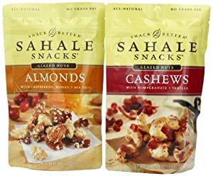 Sahale Snacks Glazed Nut Variety Pack, 2 Flavors, 4-Ounce Pouch (Pack of 6)