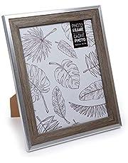 Truu Design Modern-Contemporary Beautiful Woodgrain Metallic Picture Frame, 8 x 10 inches, Grey, 65153DC-GY