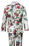 Gele Boy 6 Pieces Flowered-Pattern Formal Dress Suit (8, White)