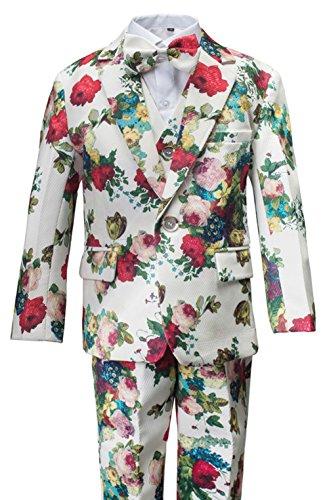 Gele Boy Floral Formal Dress Suit,Slim Fit Luxury 6 Pieces Set with Waist Cummerbund (7, White)