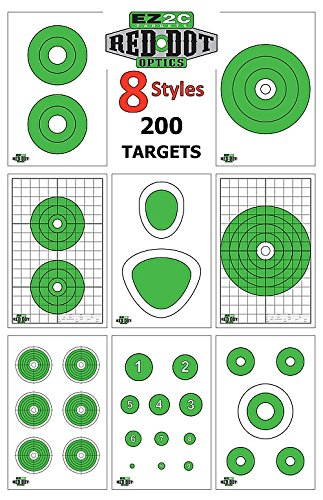 EZ2C Red Dot Rifle and Pistol Shooting Pack High Visibility Paper Targets for Shooting Range | Target Shooting Paper | Long Range | 200 Pack (8 Styles) | 11