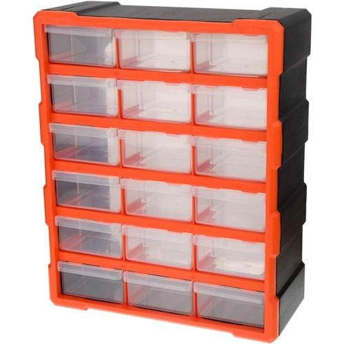 Tactix 320634 18 Drawer Cabinet, Black/Orange