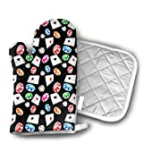 Poker and Dice Set of Oven Mitt and Pot Holder, Microwave Glove Cotton High Heat Resistance Oven Mitts with Disk Pad for Kitchen Cooking Baking