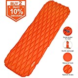 LATTCURE Inflatable Sleeping Pad Lightweight Compact Comfy Waterproof Air Camping Mat – Best Kit with Sleeping Bag Hammock Tent for Picnic Backpacking Travel Hiking Camping (Orange)