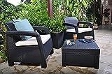 Keter Corfu 2 Seater Balcony Garden Outdoor Rattan Furniture Set - Graphite with Cream Cushions