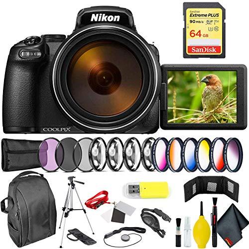 Nikon COOLPIX P1000 Digital Camera + 64GB Sandisk Extreme Memory Card Professional Kit International Model