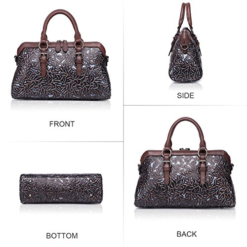 APHISON Women Genuine Leather Handbag Large Capacity Tote Bags Embossed  Design Shoulder Bag For Ladies 81084 2baac685bc781