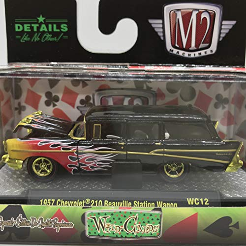 M2 Machines 1 of 500 Worldwide Chase Car with Gold Or Special Wheels & Unique Design Wild-Cards 1957 Chevrolet 210 Beauville Station Wagon WC12 16-52 Black/Red Flame Details Like NO Other! 1 of 500 (Best Affordable Station Wagons)