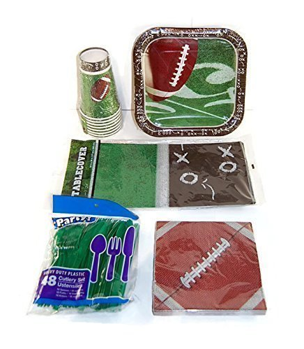 Football Theme Birthday Party Supplies Pack - Plates, Napkins, Cups, Cutlery, Tablecover - Super Bowl NFL Game by Greenbrier