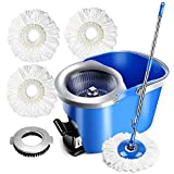 Masthome Spin Mop with 3 Microfiber Heads 1 Floor Washing Brush 360 Magic Hand Press Spin Mop & Foot Pedal Bucket Wringer 2 in 1 for Floor Cleaning Rotating, 8L