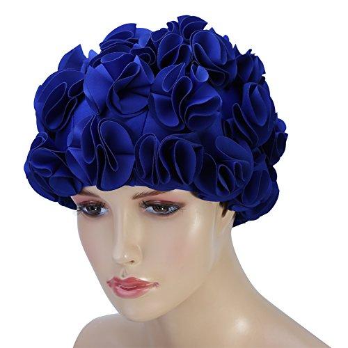 (Women Swimming Cap Floral Petal Retro Style Bathing Hat Swim Flower Cap ( Color : Blue ))